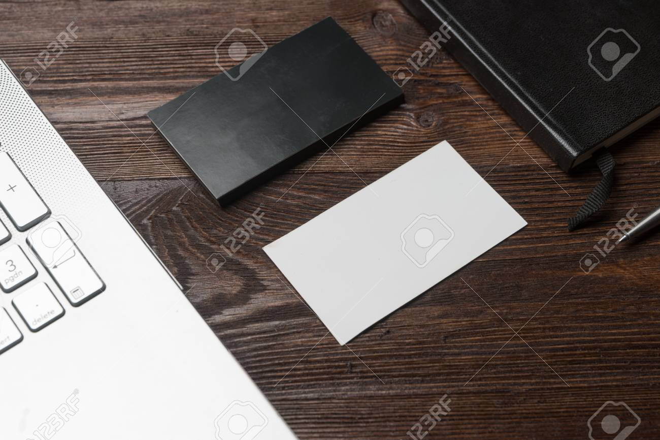 White empty business card mockup wood table modern notebook stock stock photo white empty business card mockup wood table modern notebook clean object information mock up colourmoves
