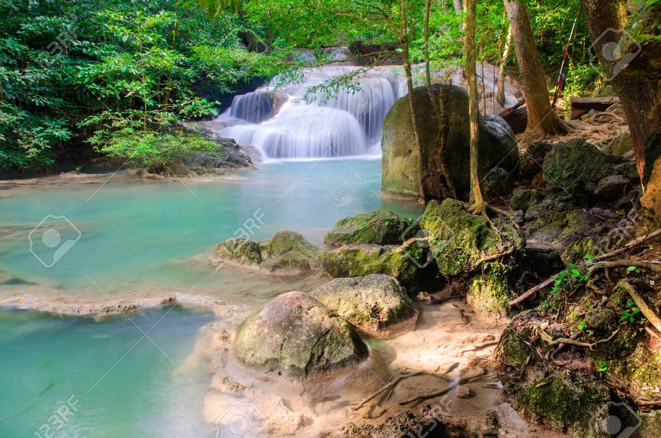 waterfall in deep forest , thailand - 128102826