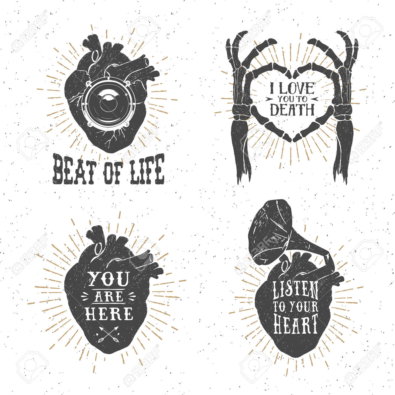 Hand drawn textured romantic posters with human heart, skeleton hands, gramophone horn, stereo speaker, and lettering vector illustrations on the white background. - 51371387