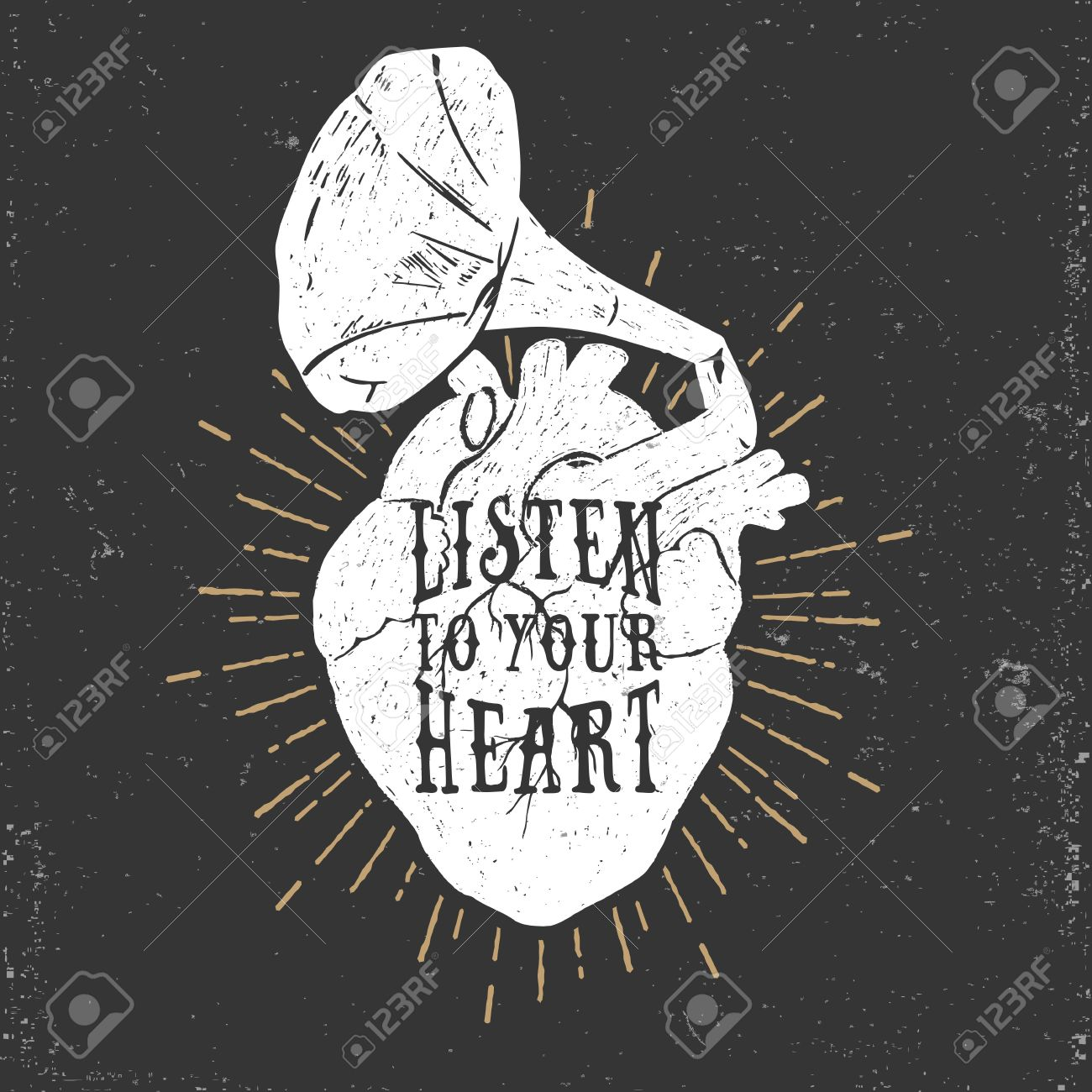Hand drawn textured romantic poster with human heart and gramophone horn, and inspiring lettering vector illustration on the black background. - 53285221