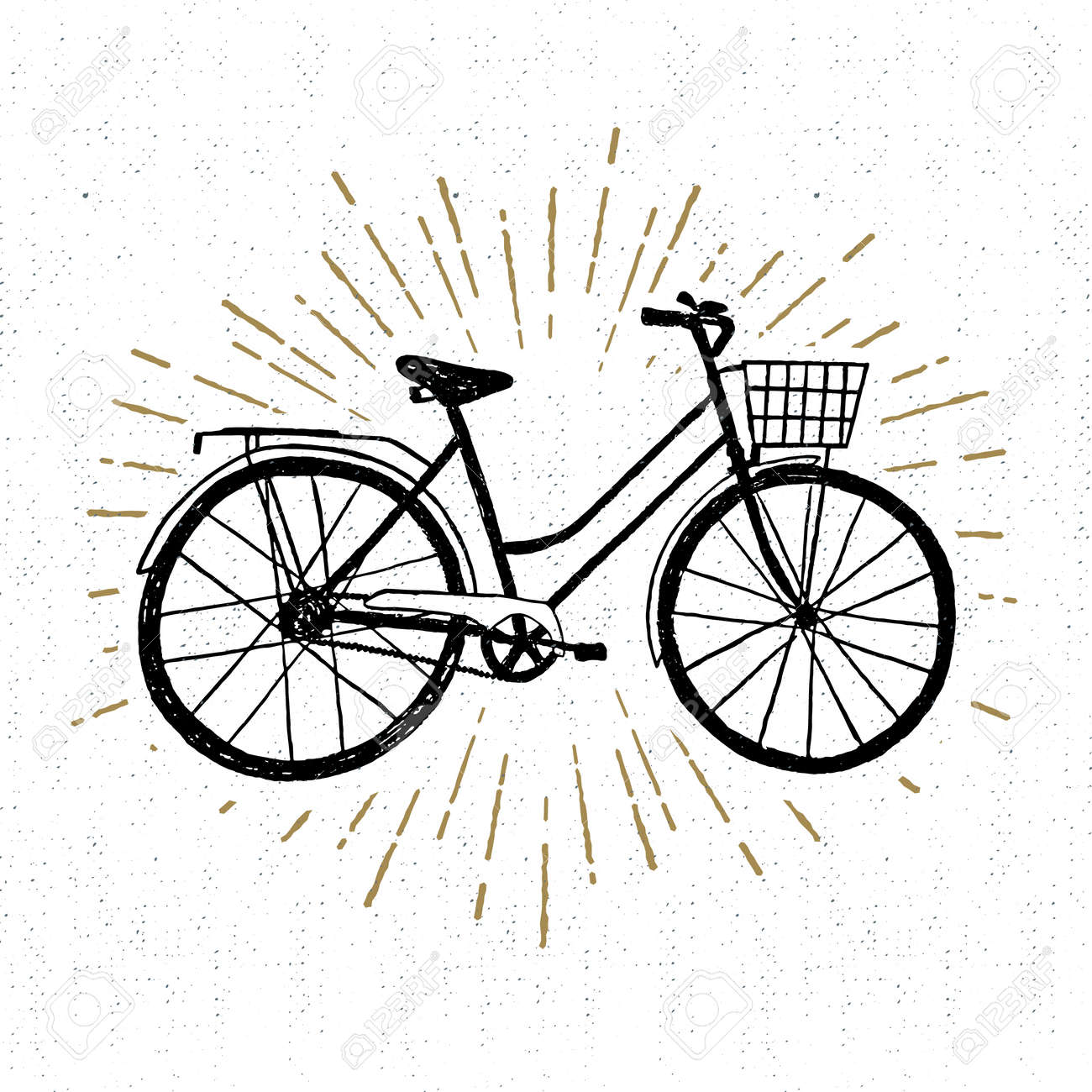 Hand drawn vintage icon with bicycle vector illustration. - 53285692