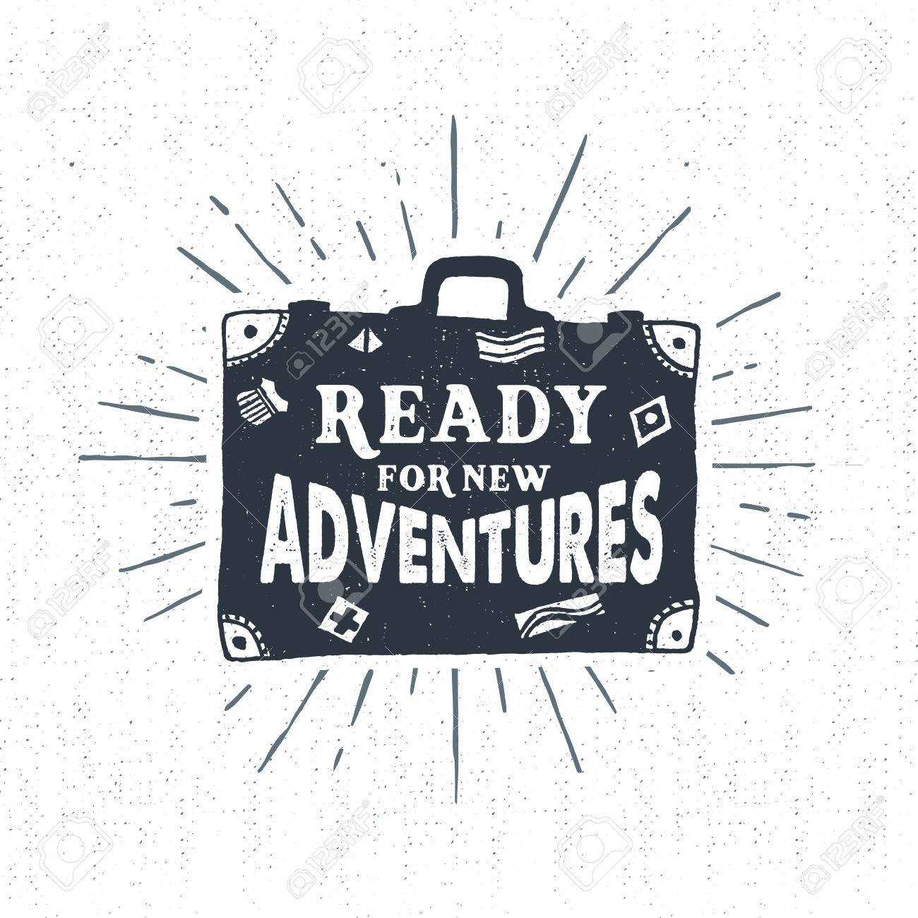 """Hand drawn textured vintage label, retro badge with suitcase vector illustration and """"Ready for new adventures"""" lettering. - 53285714"""