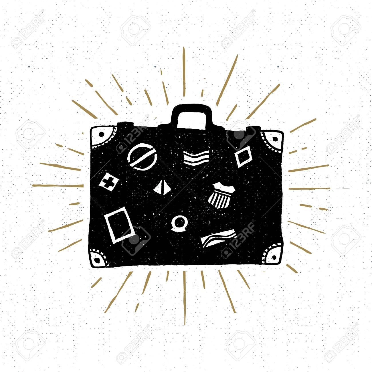 Hand drawn vintage icon with suitcase vector illustration. - 53285735