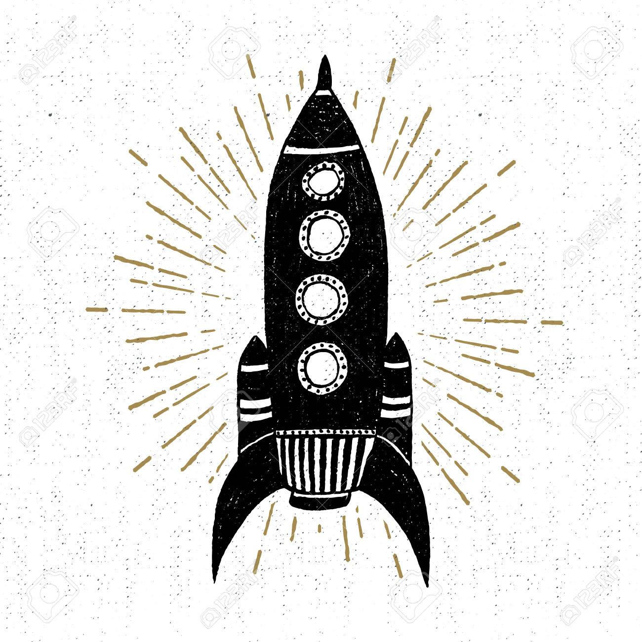 Hand drawn vintage icon with rocket vector illustration. - 53285834