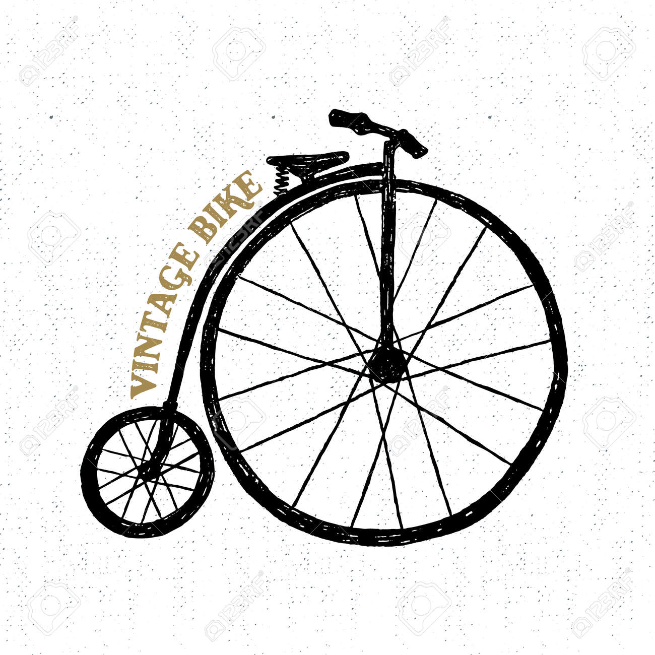 Hand drawn textured vintage icon with bicycle vector illustration. - 53286115
