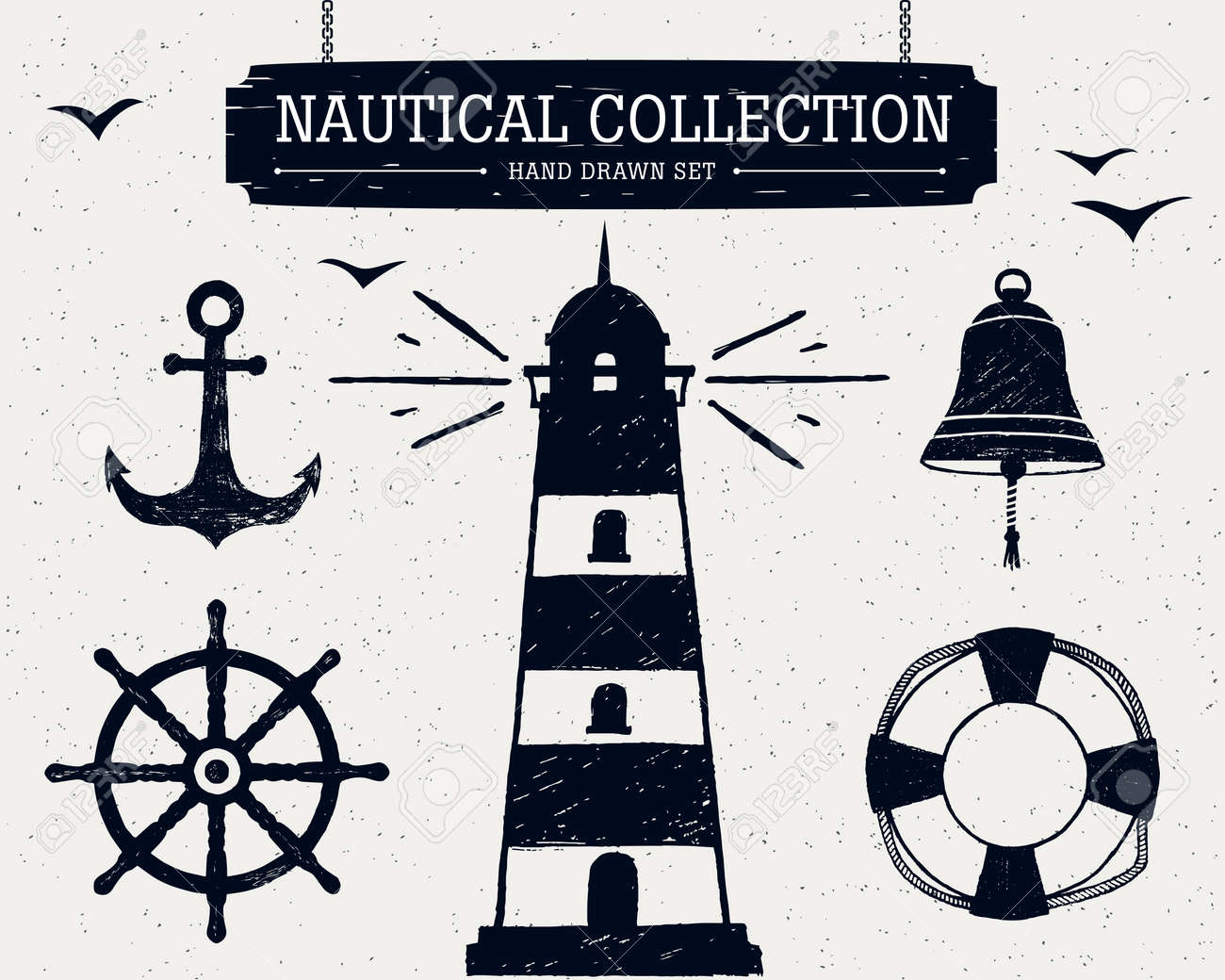 Hand drawn nautical collection of lighthouse, anchor, ship helm, lifebuoy, bell. - 53286319