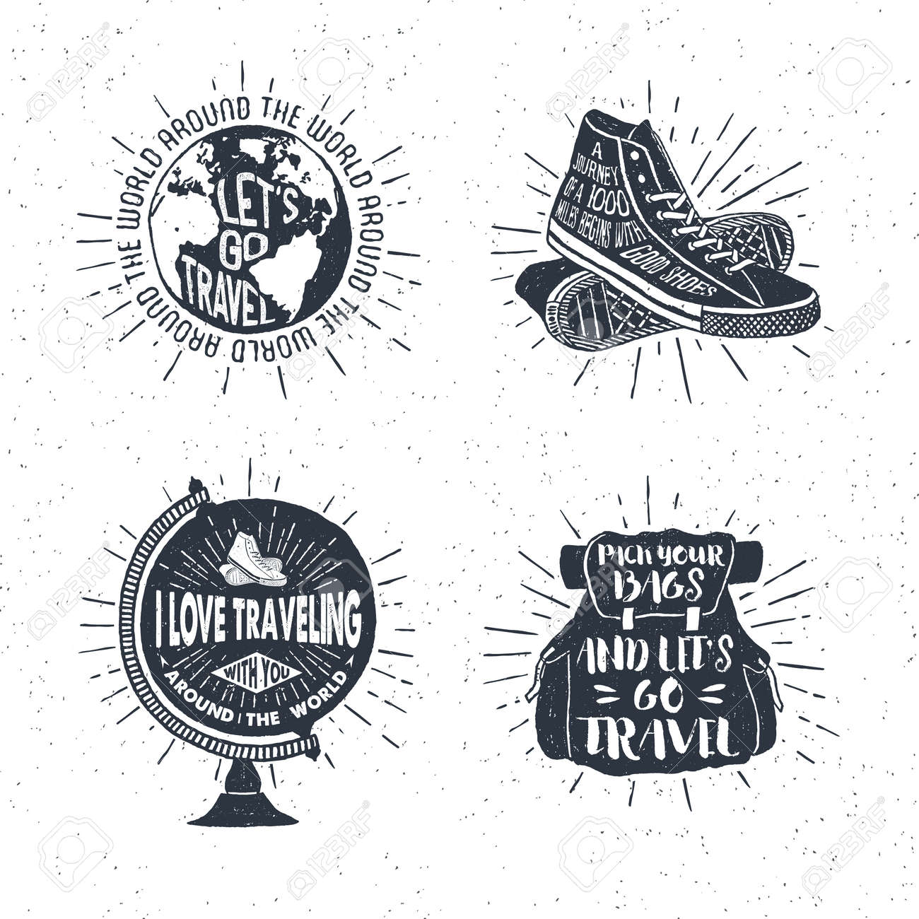 Hand drawn textured vintage labels, retro badges set with globe, sneakers, bag, and lettering vector illustrations. - 55094490