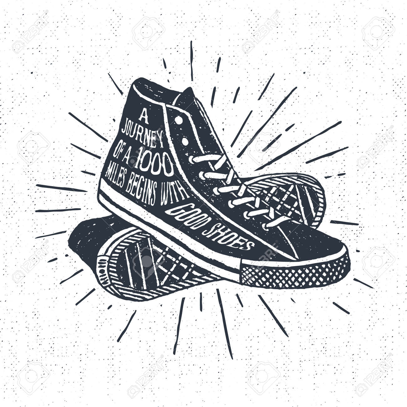 Hand drawn textured vintage label, retro badge with sneakers vector illustration and inspirational lettering. - 55094492