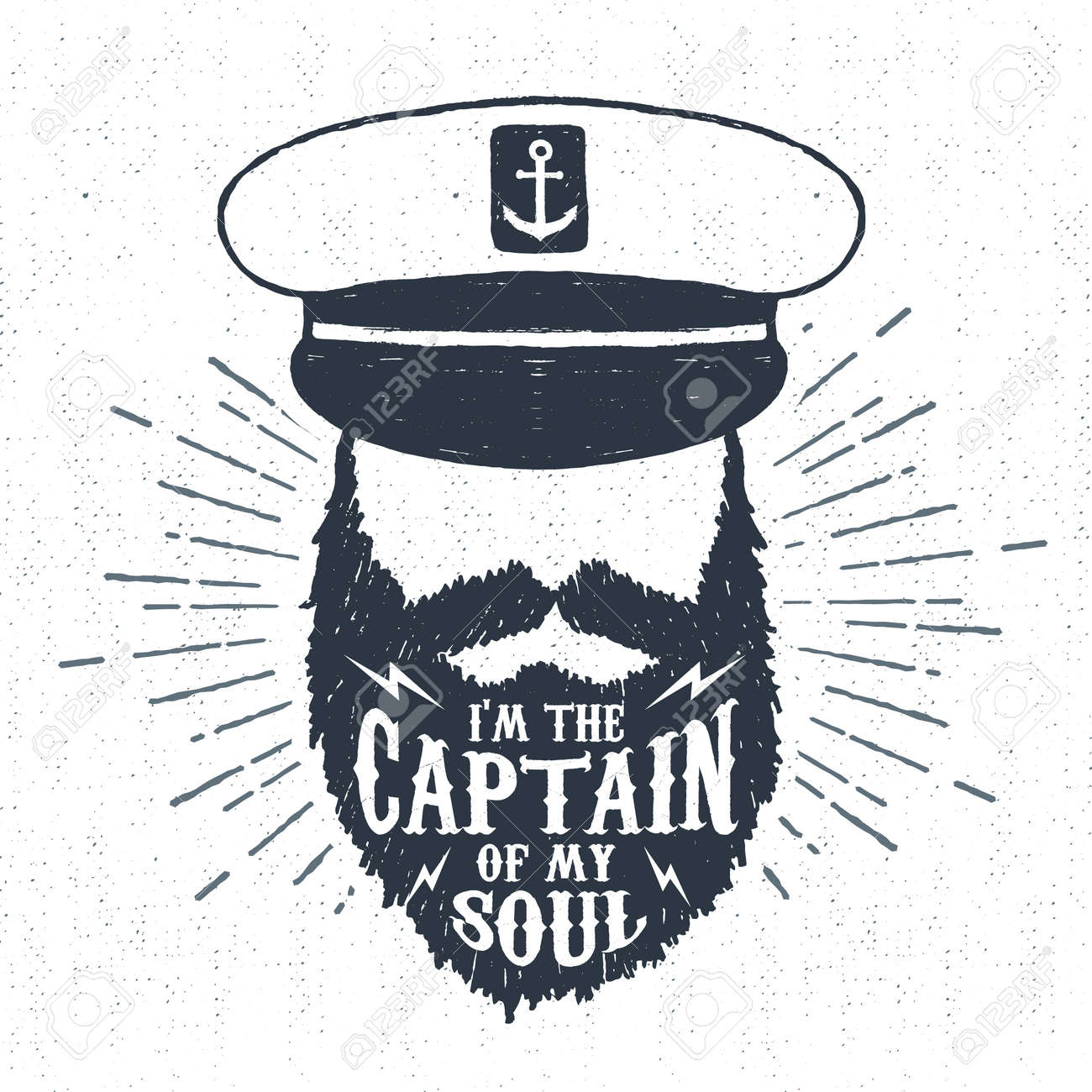 """Hand drawn vintage label, retro badge with textured captain vector illustration and """"I am the captain of my soul"""" inspiring lettering. - 55087292"""