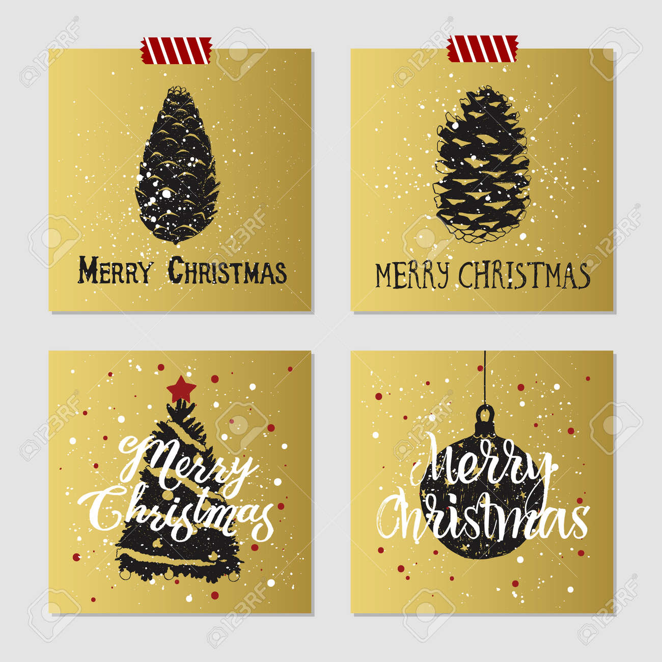 Hand Drawn Christmas Cards Set With Textured Pine Cones, Christmas ...