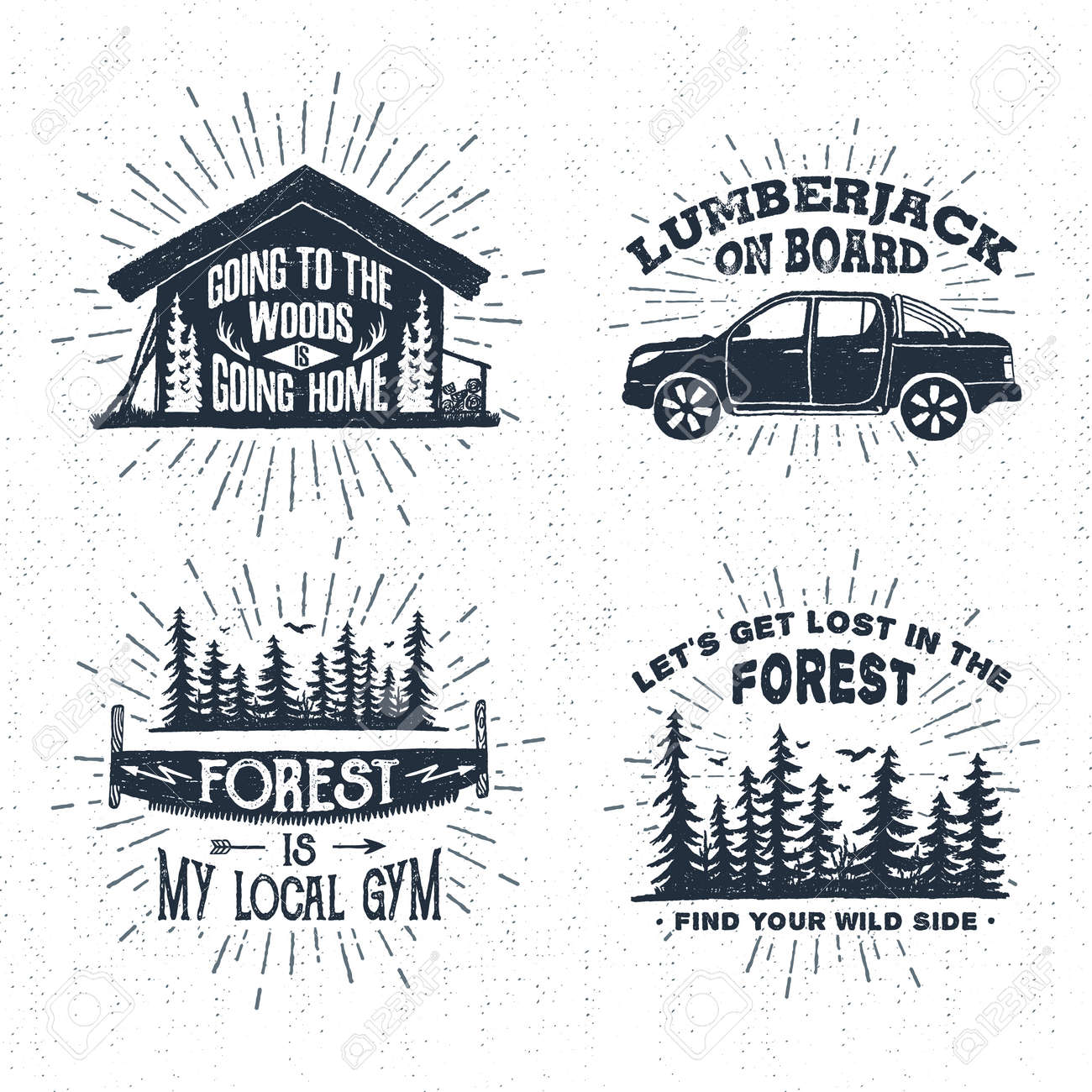 Hand drawn vintage badges set with textured wooden cabin, pickup truck, saw, and spruce forest vector illustrations and inspirational lettering. - 60255373