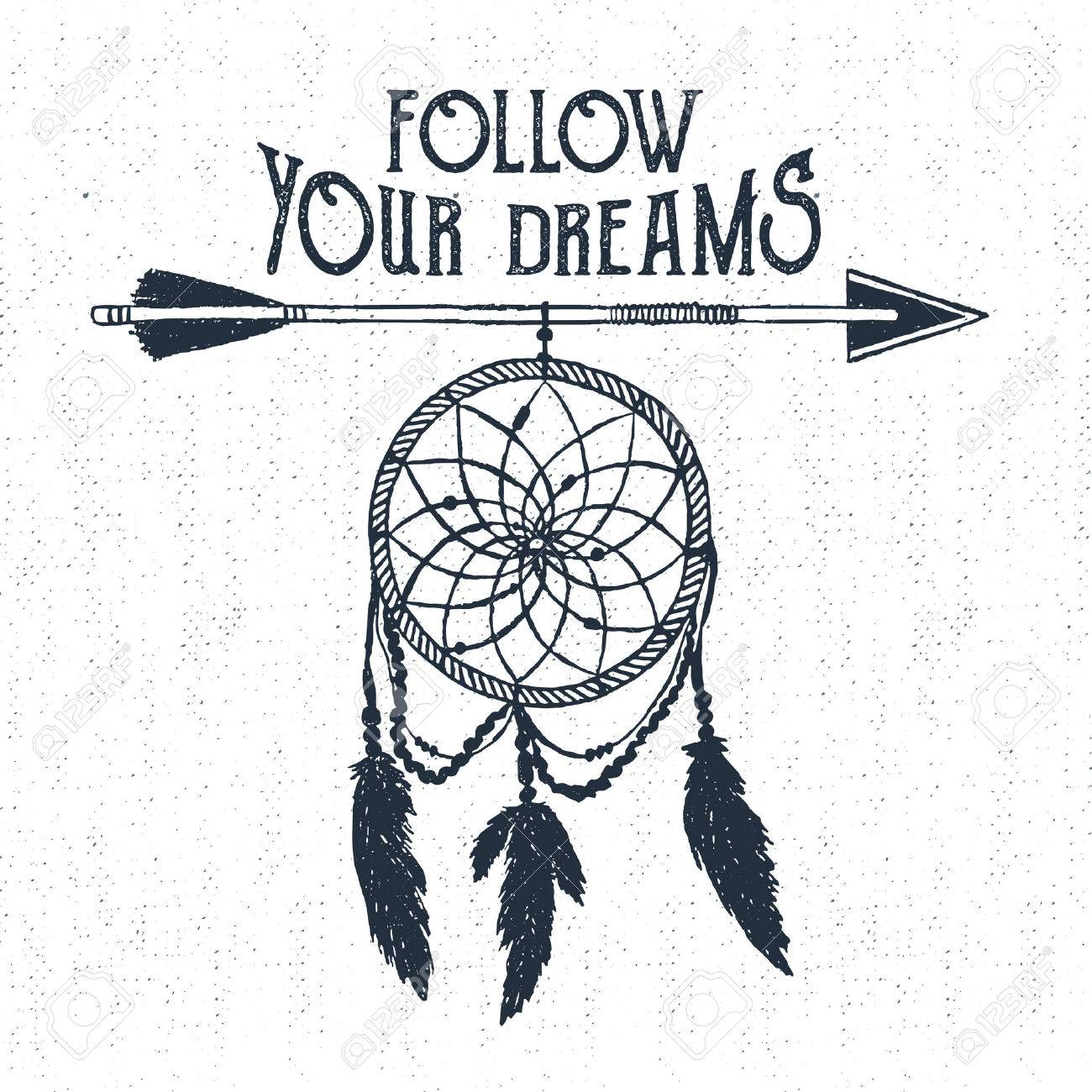 Hand Drawn Tribal Label With Textured Dream Catcher Vector