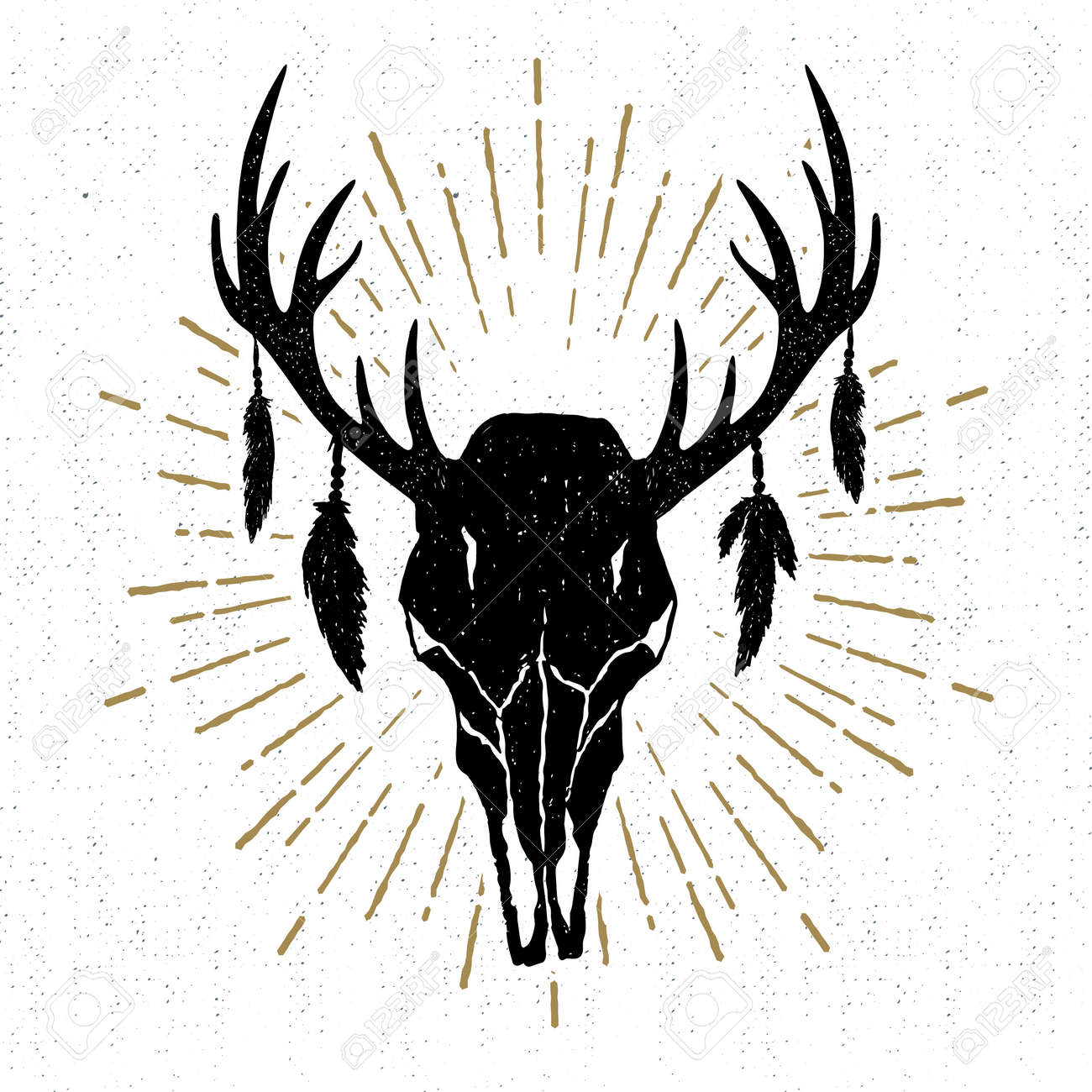 Hand Drawn Tribal Icon With A Textured Deer Skull Vector Illustration
