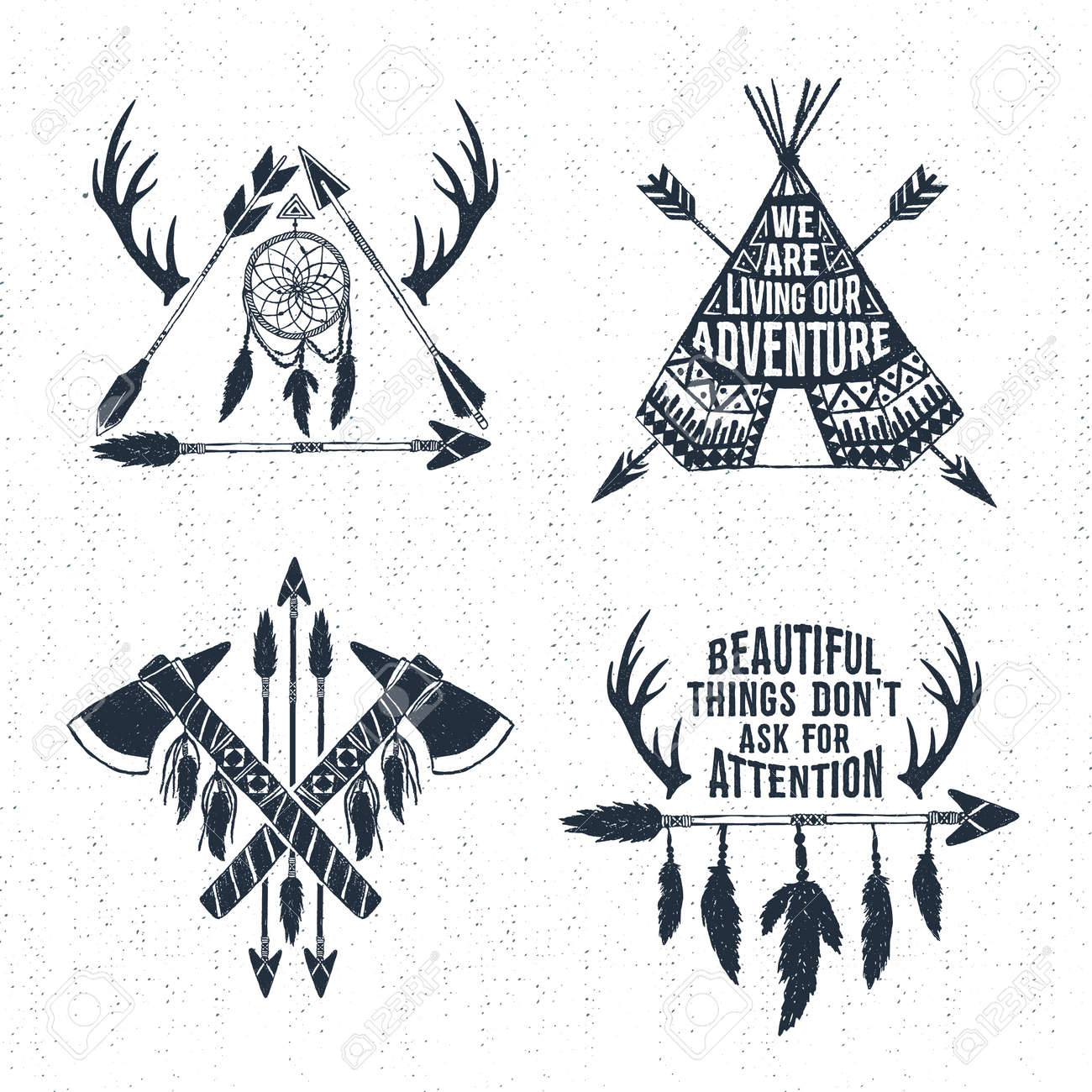Hand drawn tribal labels set with arrows, teepee, tomahawks, and feathers vector illustrations and inspirational lettering. - 61847576