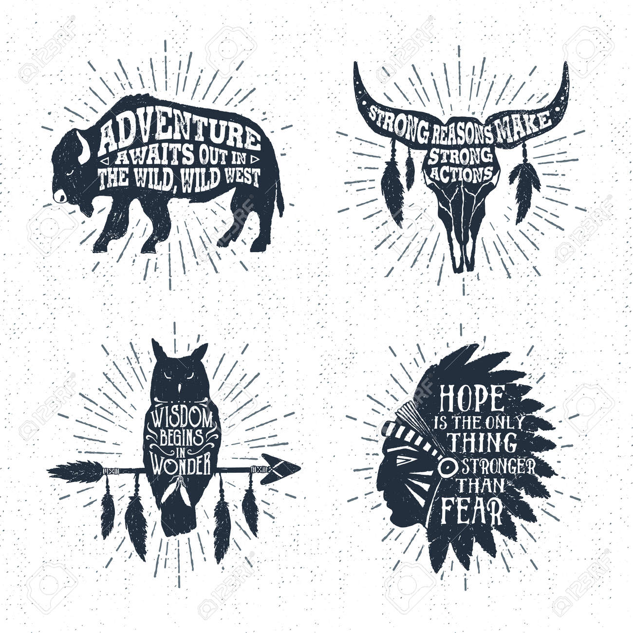 Hand drawn tribal labels set with buffalo, skull, owl, and headdress vector illustrations and inspirational lettering. - 61847618