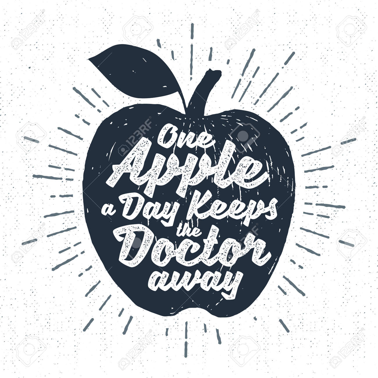 """Hand drawn label with textured apple vector illustration and """"One apple a day keeps the doctor away"""" lettering. - 69214529"""
