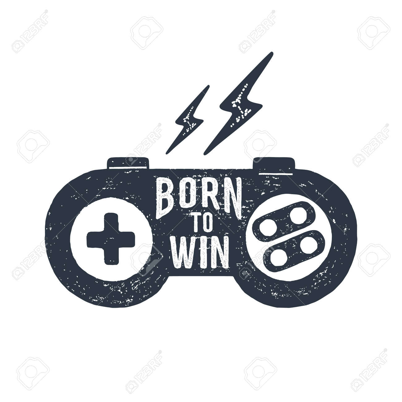 """Hand drawn 90s themed badge with gamepad textured vector illustration and """"Born to win"""" inspirational lettering. - 73433622"""
