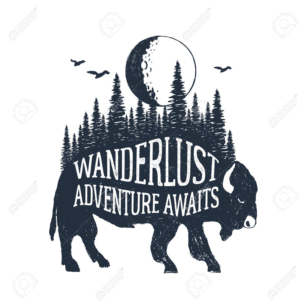 """Hand drawn inspirational label with textured buffalo vector illustration and """"Wanderlust. Adventure awaits"""" lettering. - 83365037"""