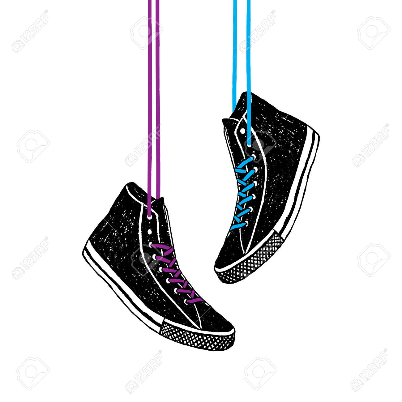 Hand drawn badge with sneakers textured vector illustration. - 83599773