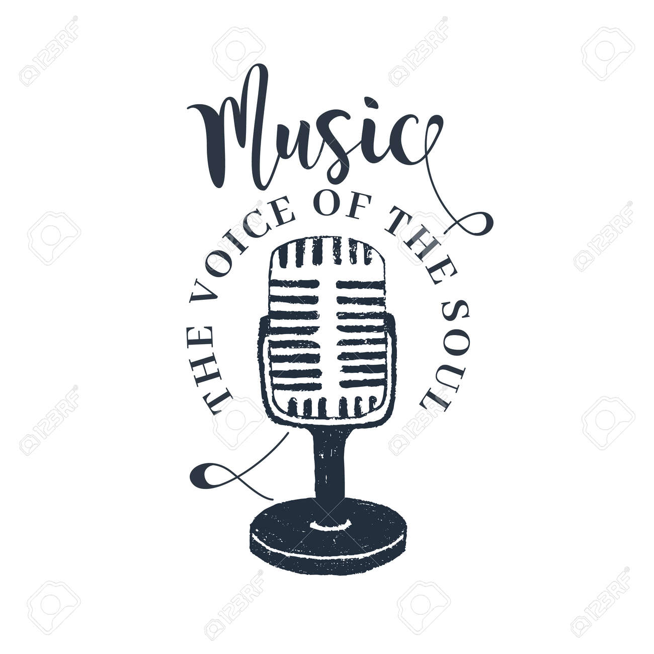 """Hand drawn 90s themed badge with microphone vector illustration and """"Music. The voice of the soul"""" inspirational lettering. - 90041852"""