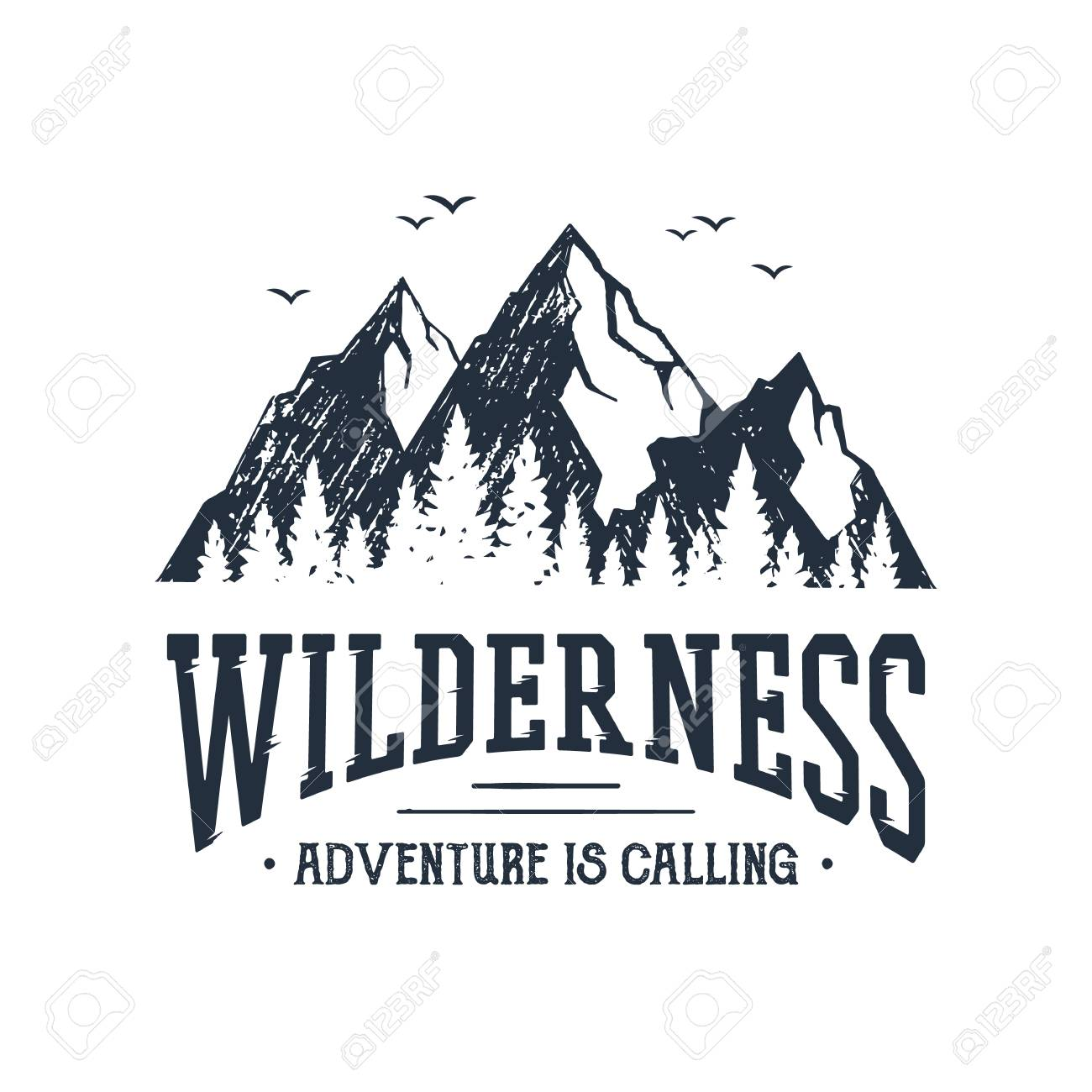 """Hand drawn inspirational label with mountains and pine trees textured vector illustrations and """"Wilderness. Adventure is calling"""" lettering. - 91098058"""