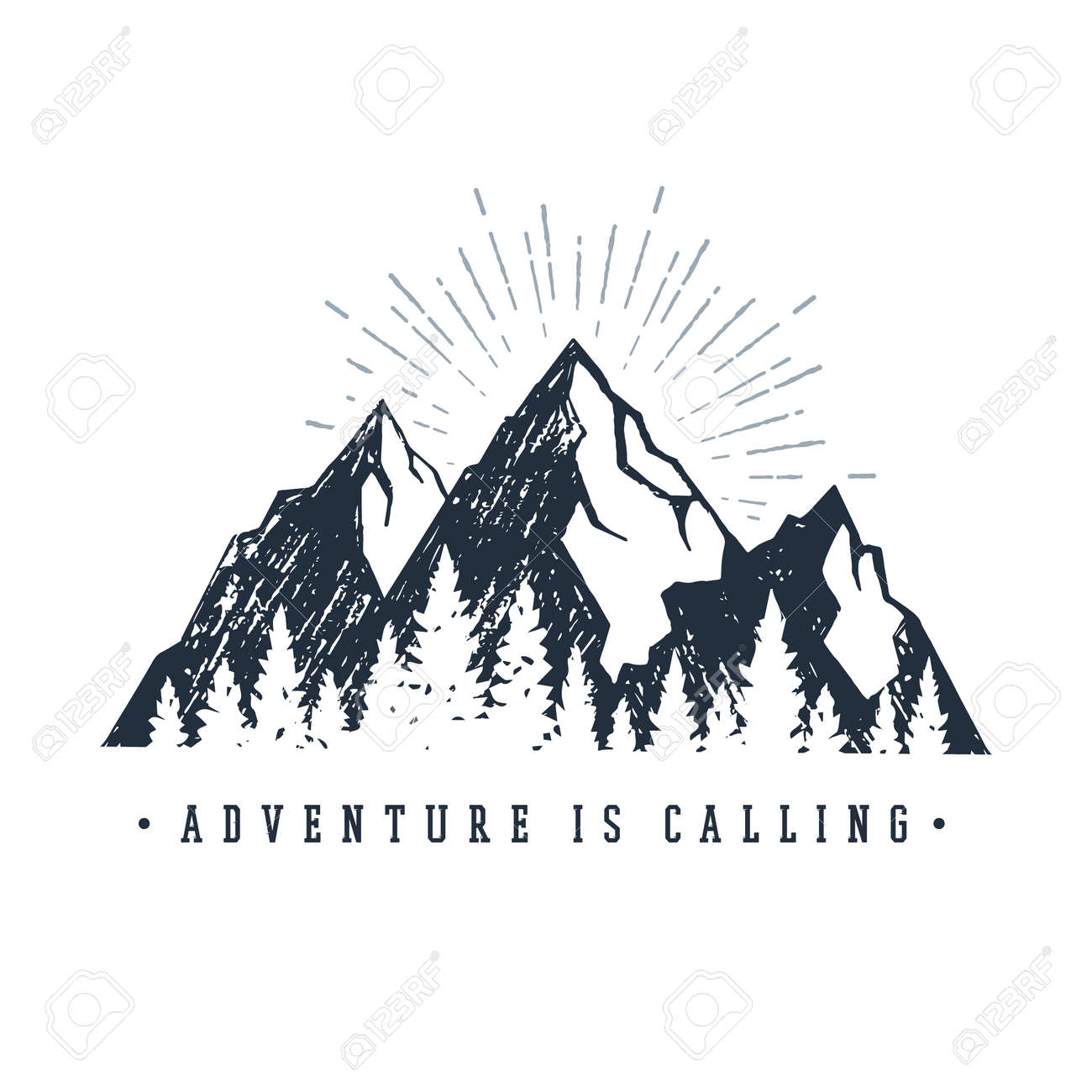"""Hand drawn inspirational label with mountains and pine trees textured vector illustrations and """"Adventure is calling"""" lettering. - 91098062"""