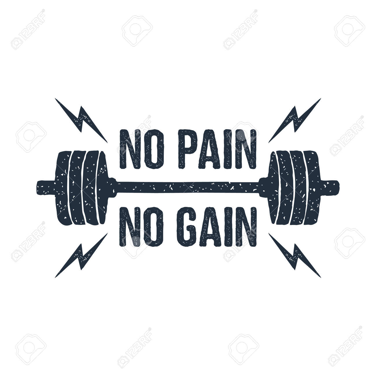 """Hand drawn barbell textured vector illustration and """"No pain - no gain"""" inspirational lettering. - 91396593"""