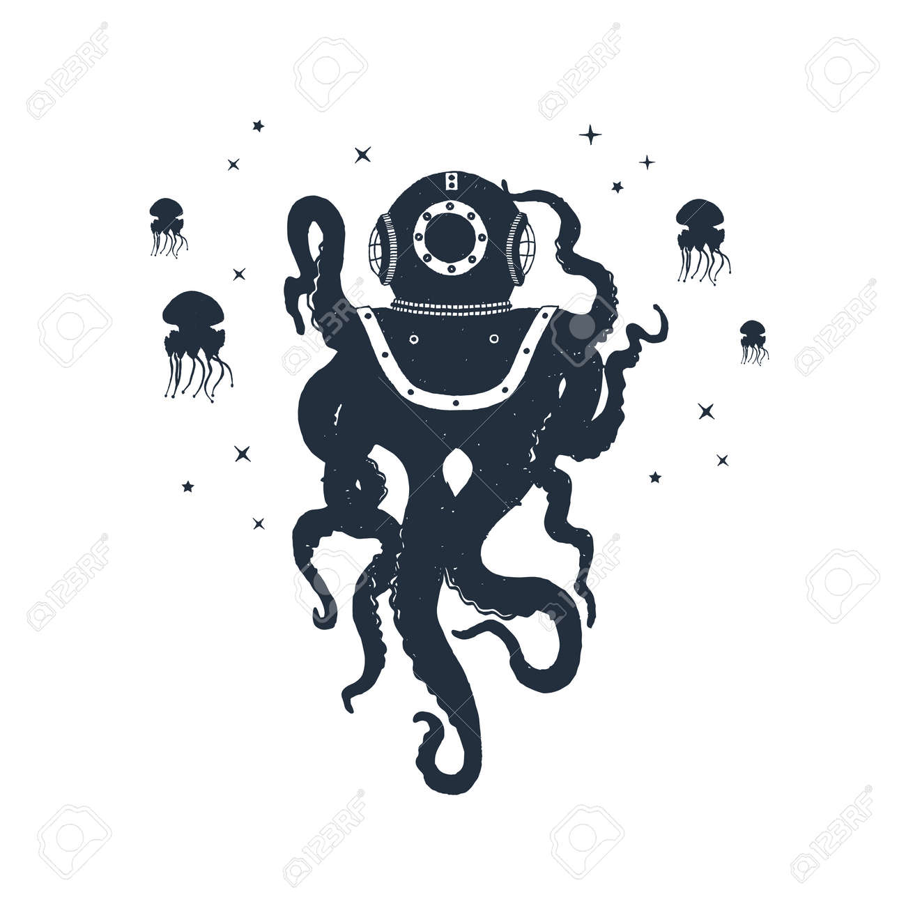 Hand drawn nautical badge with octopus and jellyfish textured vector illustrations. - 93897168