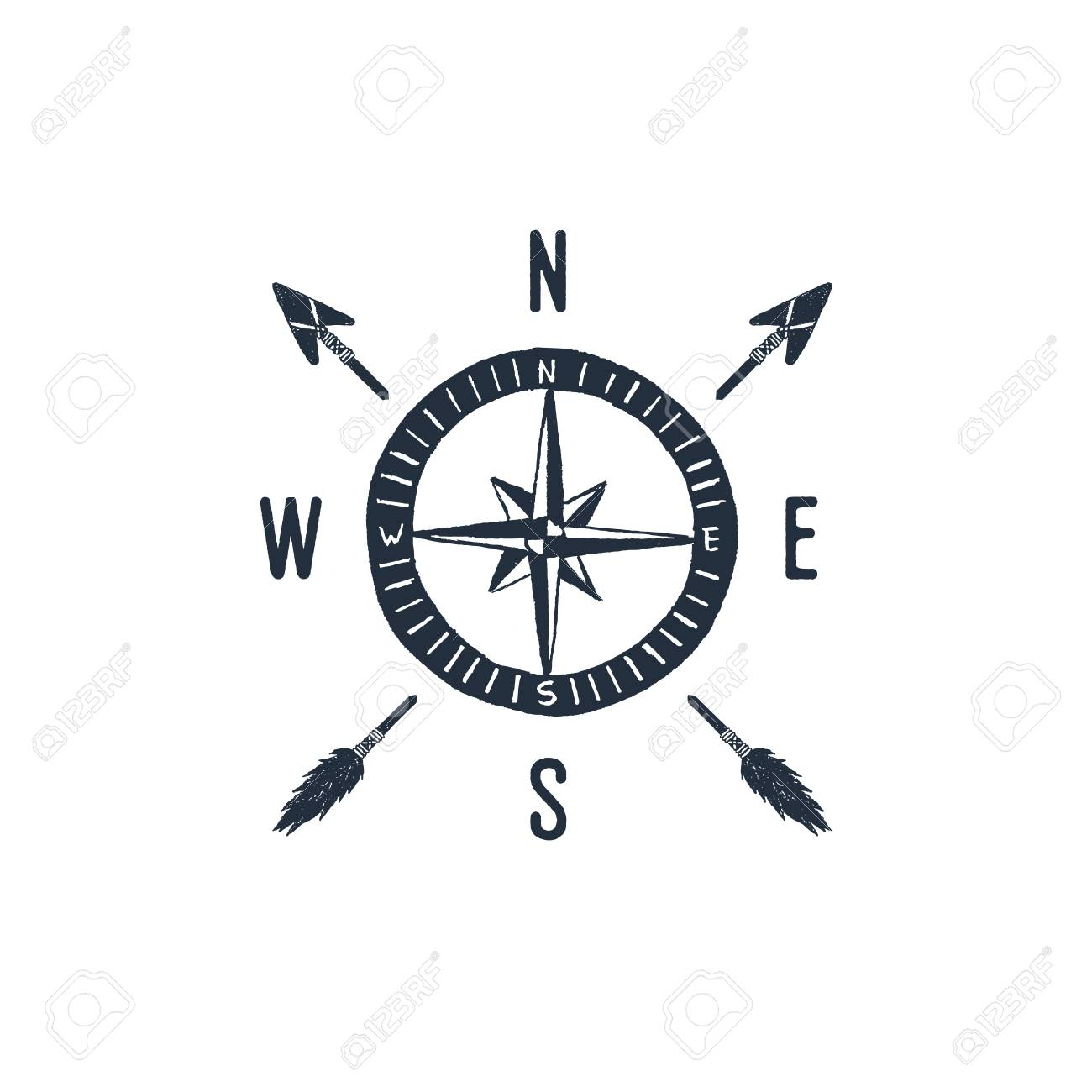Hand drawn travel badge with compass rose textured vector illustration. - 95373614