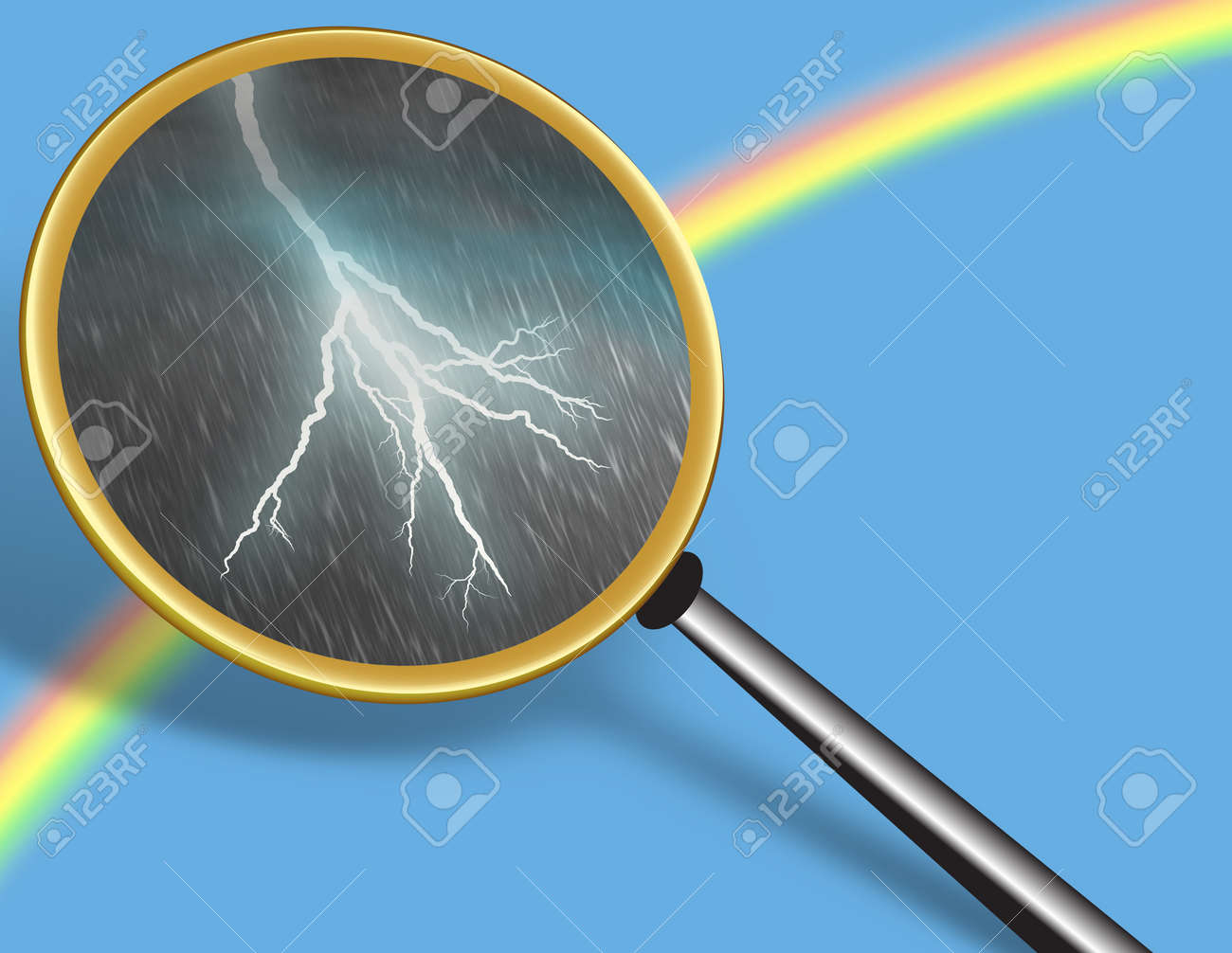 Clear Sky with Rainbow and Storm seen through Magnifying glass - conceptual for Hidden Truth Stock Photo - 18024562