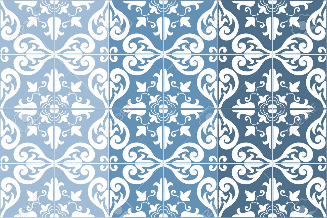 Archivio Fotografico   Tradizionali Ornate Portoghese Piastrelle Azulejos,  3 Variazioni Di Tonalità In Blu. Vintage Pattern. Astratto.