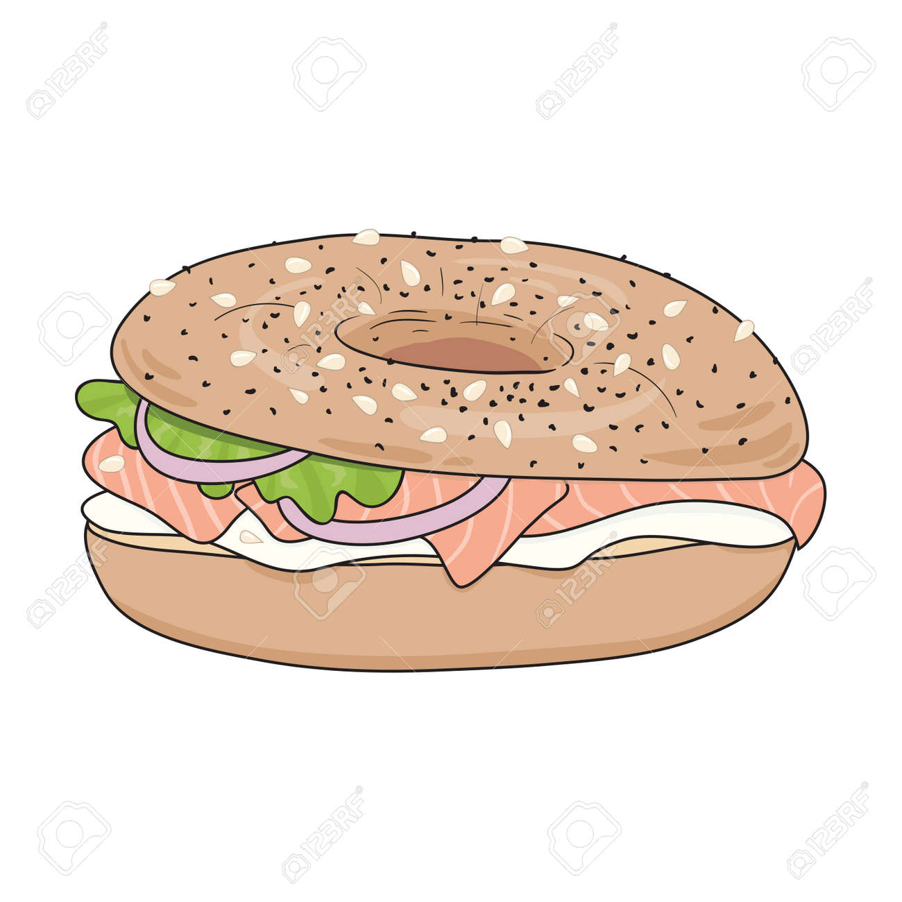 fresh bagel sandwich with cream cheese salmon fillet salad rh 123rf com Bagel Cartoon Clip Art Bagel Sandwich Recipe