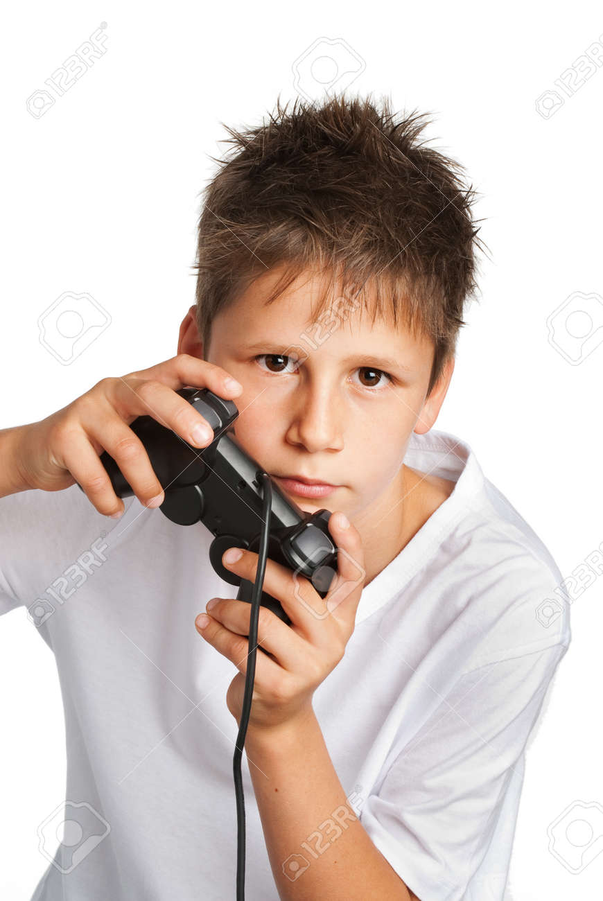 Boy with games controller - 19627930