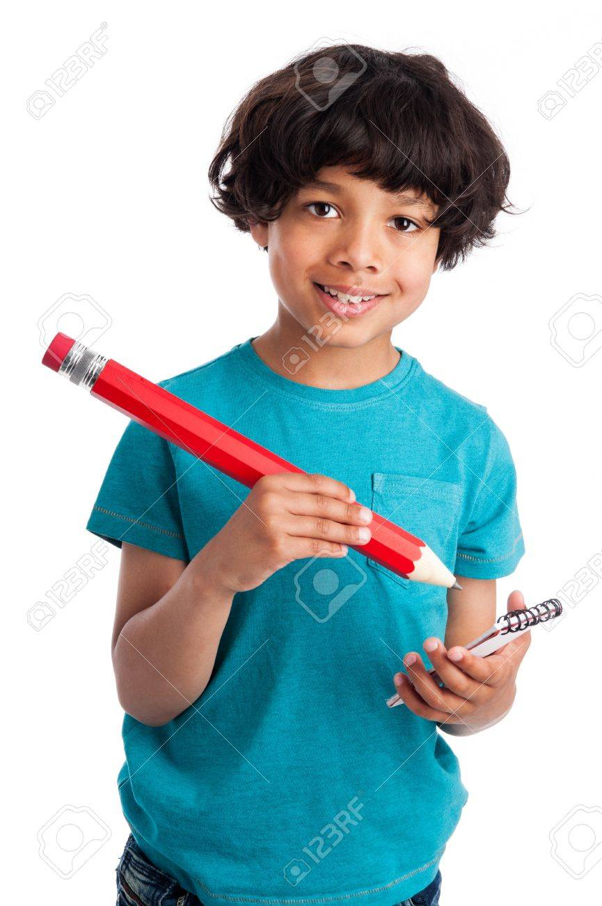 Cute mixed race boy with big pencil isolated on white background. - 20824696