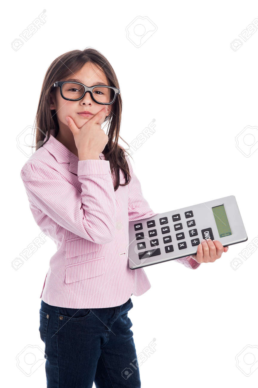 Clever girl with glasses and a calculator doing a calculation. Isolated on a studio white background. - 21064089