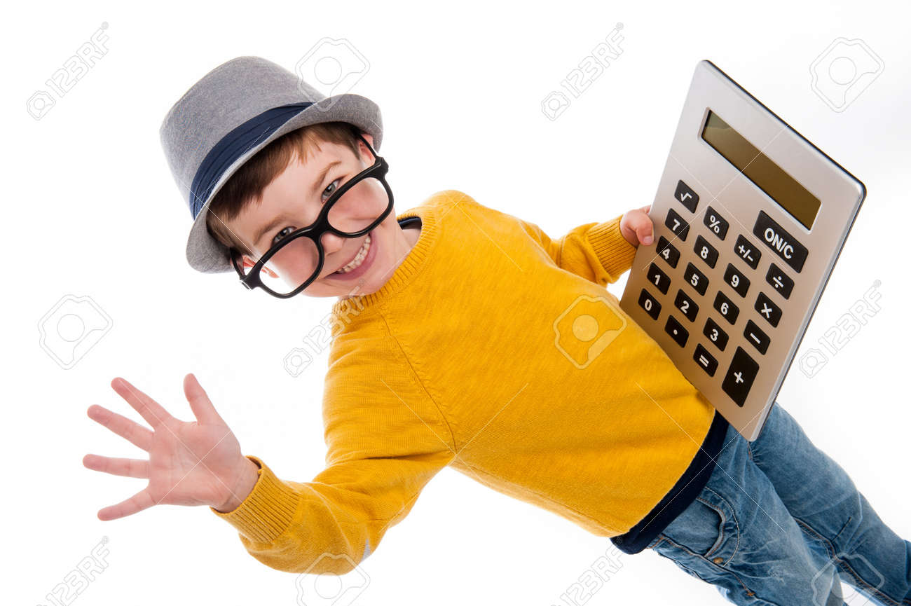 Geeky toddler boy with big calculator, big glasses and wearing a hat. Studio shot isolated on white. - 21509658