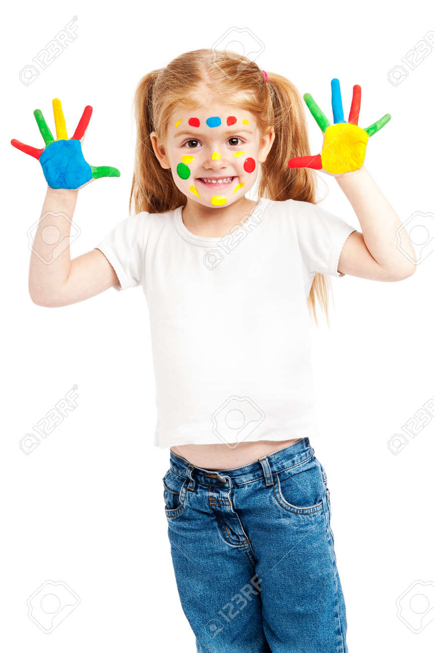 Young girl with brightly painted hands. Isolated on white background. - 22351263