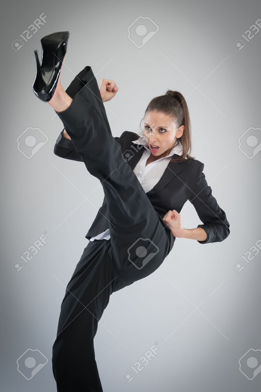 Kicking Heels Agressive Woman Into The AirMartial Art High In nOmN8w0v