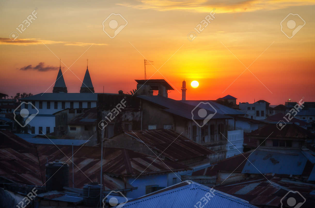 The Sun Sets On Our First Night In Zanzibar As Viewed From The Stock Photo Picture And Royalty Free Image Image 28728160