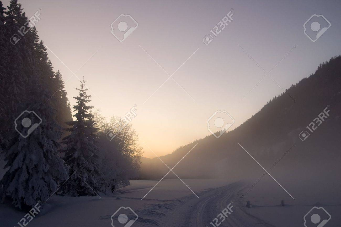 Winter mist landscape Stock Photo - 9522916