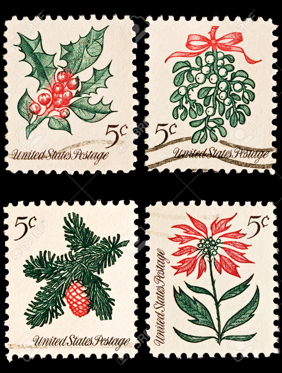 Christmas Stamps.A Variety Of Four Christmas Postage Stamps Sprig Of Conifer