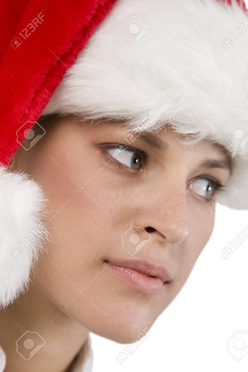 pretty santa woman on white background Stock Photo - 3575816