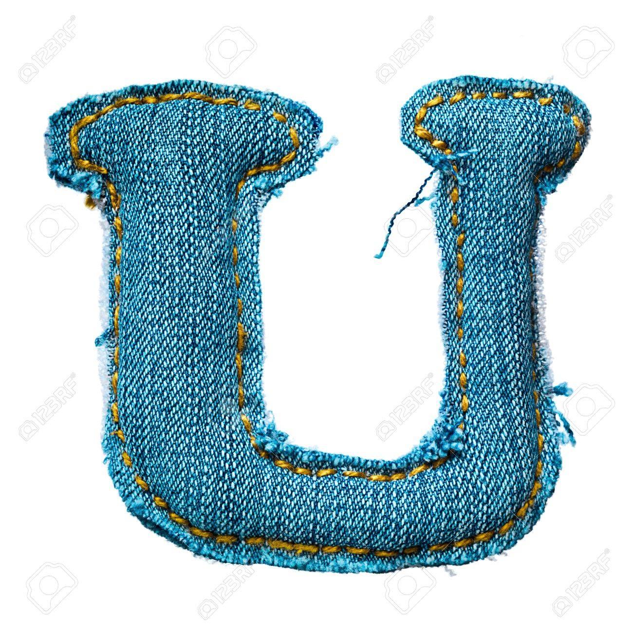 Handmade letter of jeans alphabet on white Stock Photo - 9822637