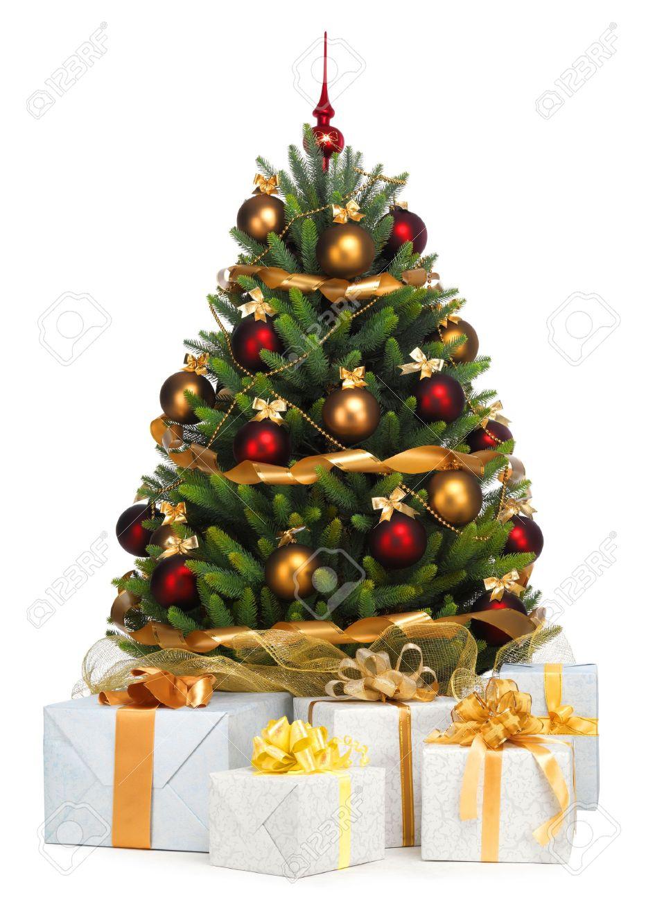 great rbol de navidad decorado sobre fondo blanco foto de archivo with arboles navidad decorados with arboles decorados - Rboles De Navidad Decorados