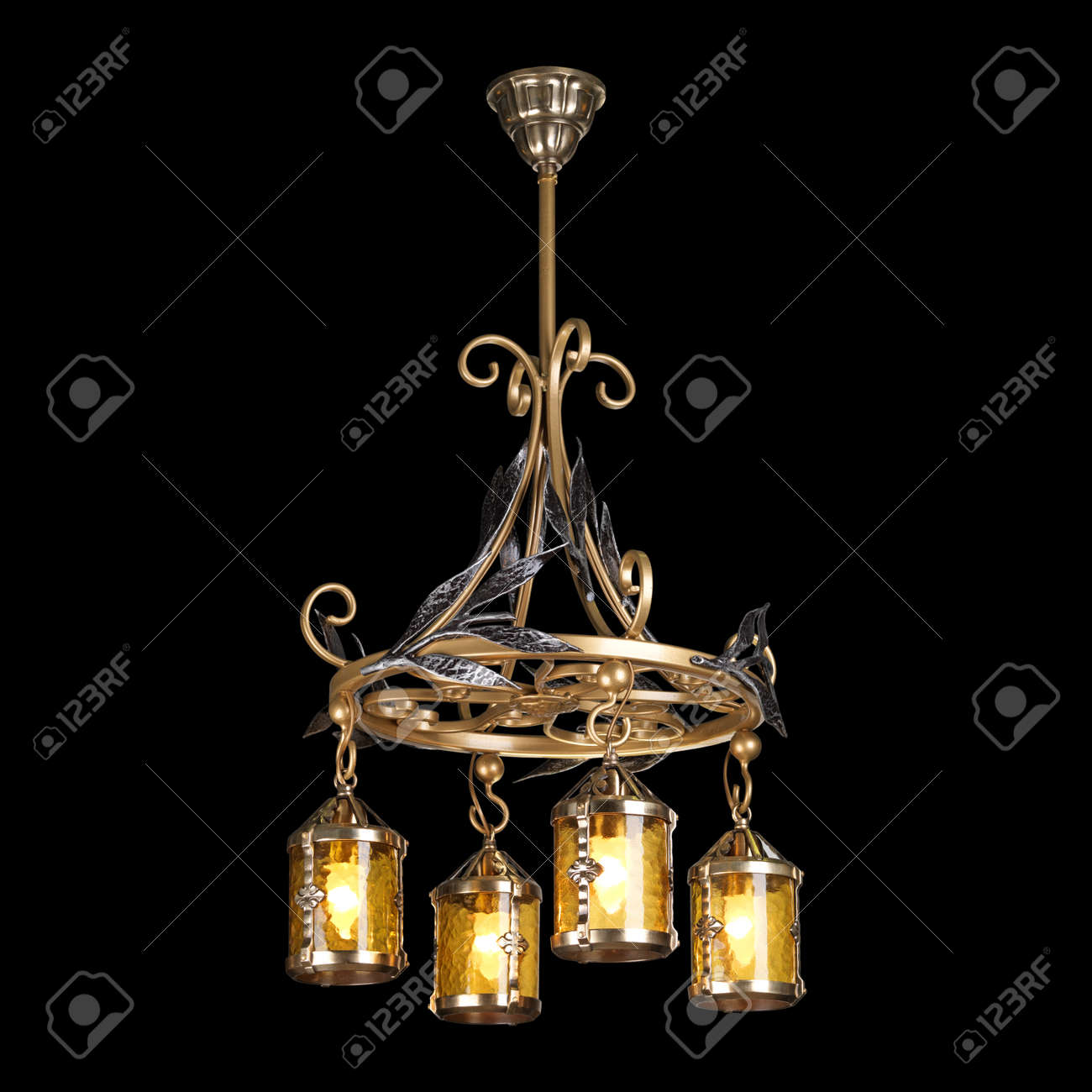 Vintage chandelier isolated on black background with clipping stock photo vintage chandelier isolated on black background with clipping path mozeypictures Choice Image