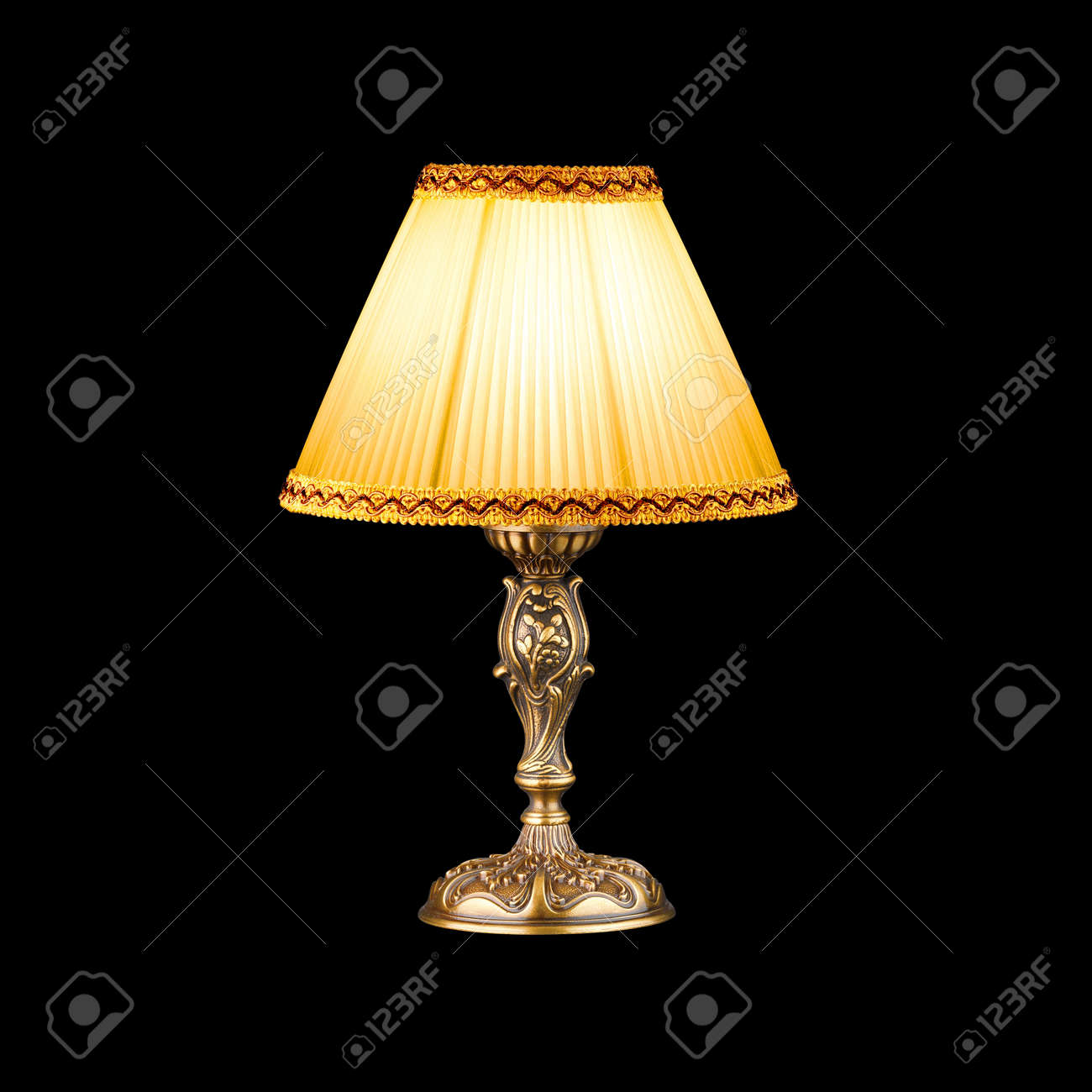vintage table lamp isolated on black with clipping path Stock Photo - 14945436