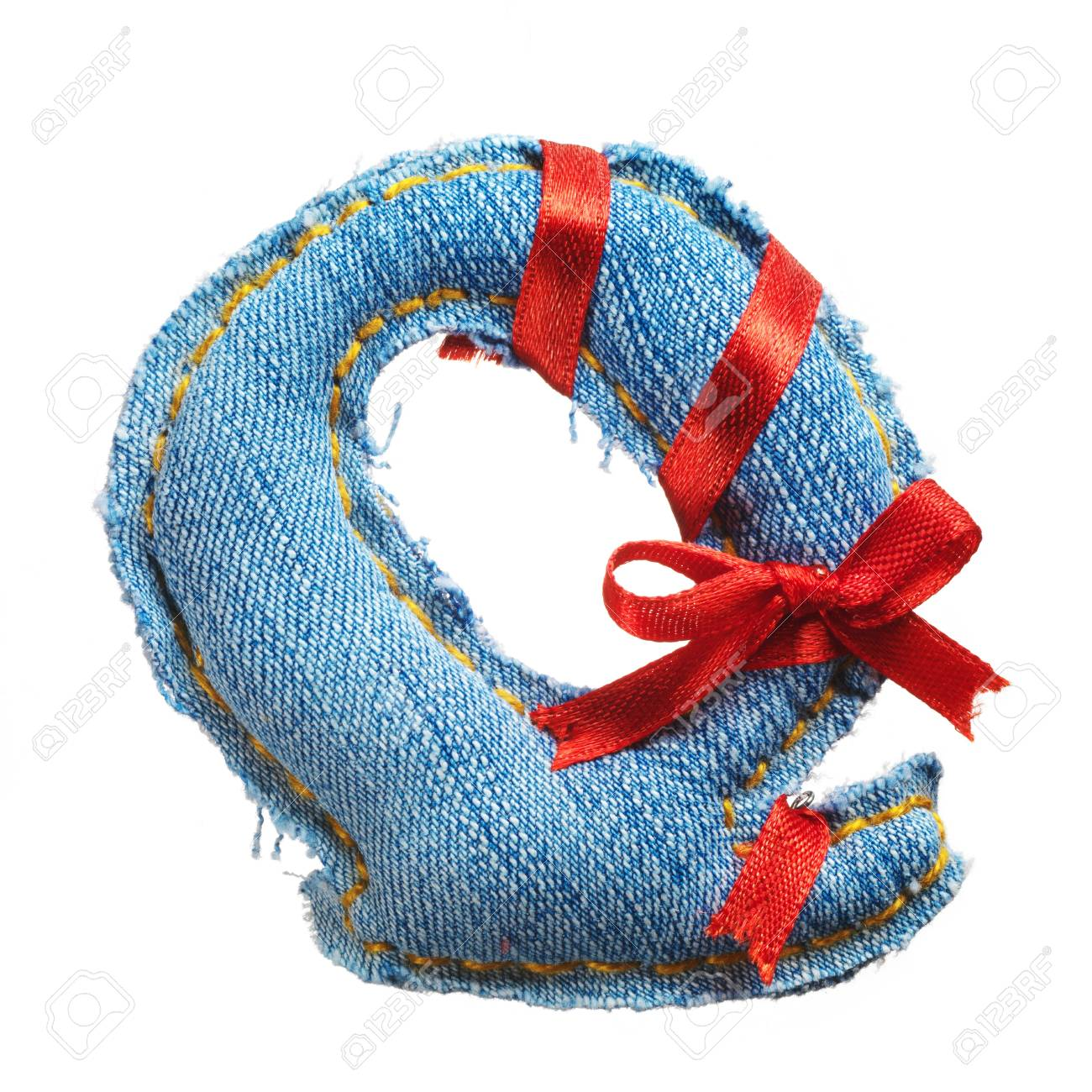 Handmade letter of jeans alphabet with holiday red ribbon isolated on white Stock Photo - 17604301