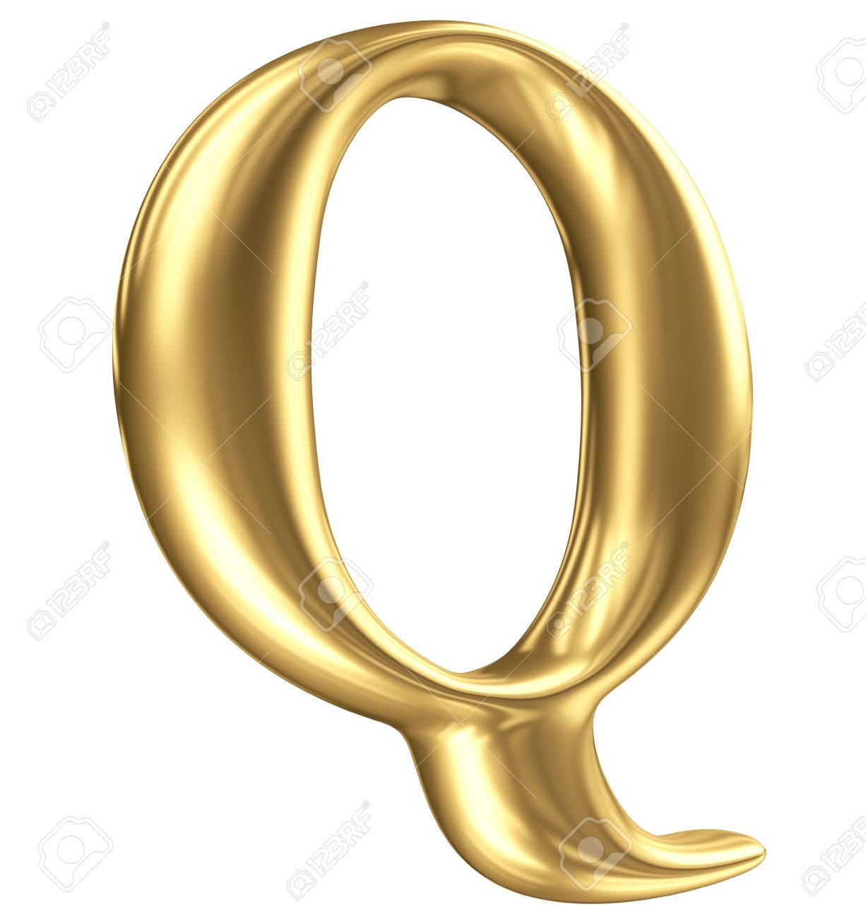 Golden matt letter Q in perspective, jewellery font collection Stock Photo - 23195009