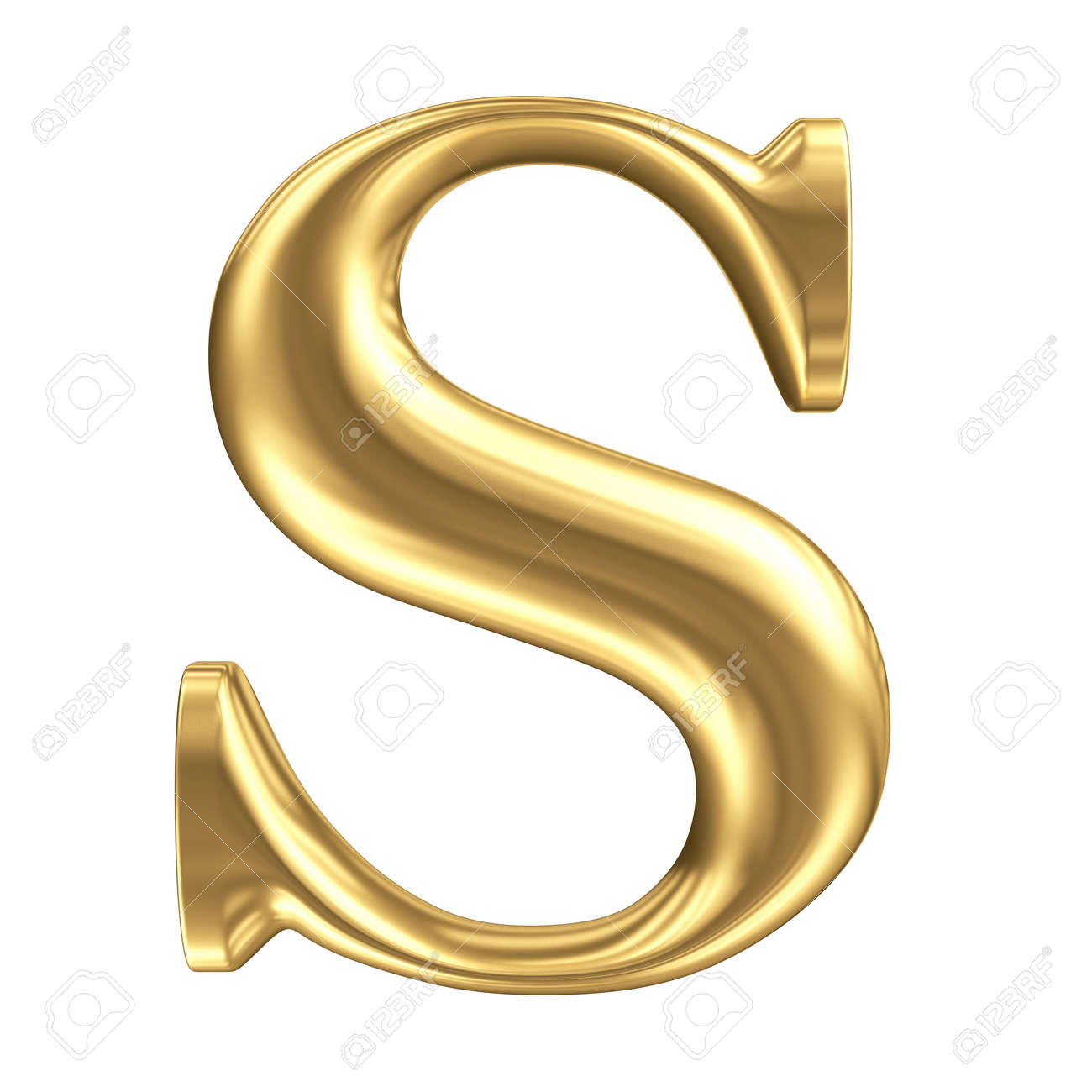 Golden Matt Letter S Jewellery Font Collection