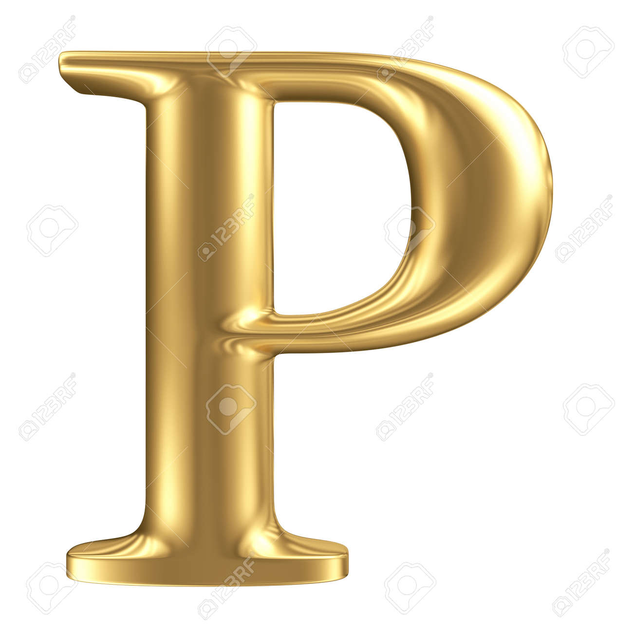 Golden Matt Letter P, Jewellery Font Collection  P&l Template Excel